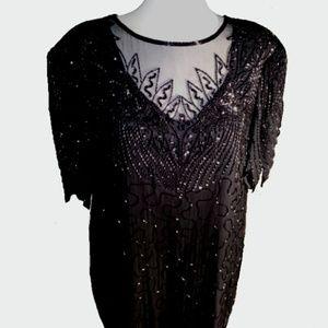 Designs Lane Bryant Beaded, Sequined Evening Dress